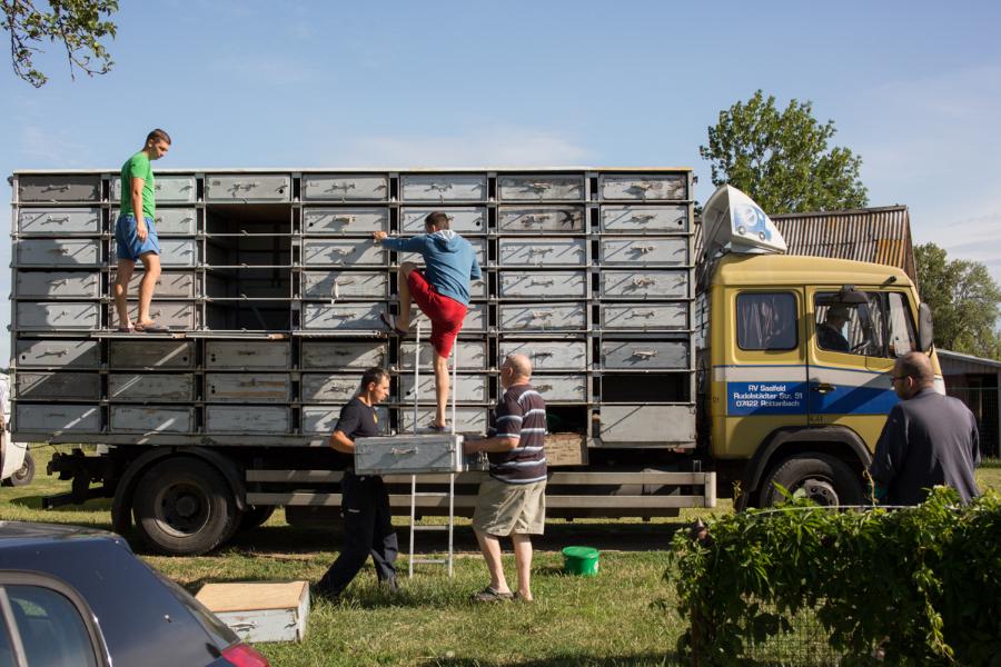 Šiuo automobiliu važiuoja bendrai Alytaus, Kybartų, Vilniaus ir Kauno balandžiai.